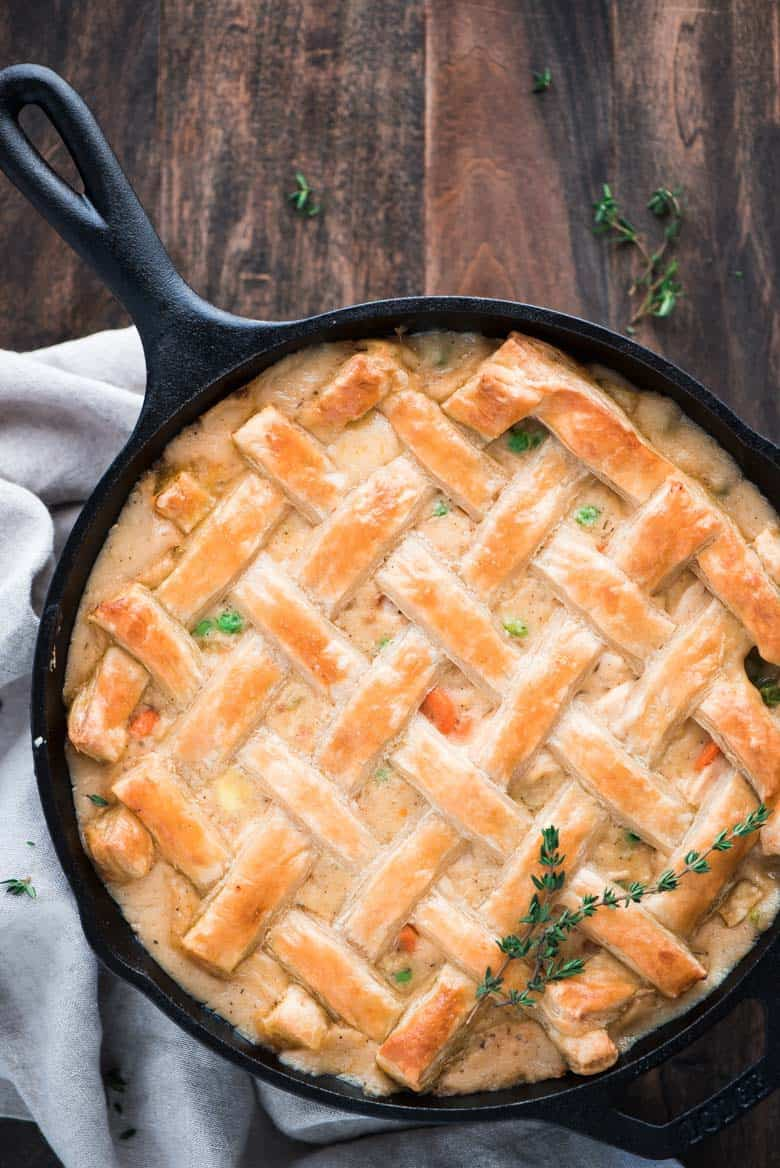 Completed One Skillet Chicken Pot Pie