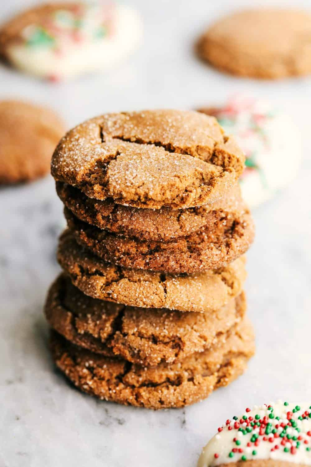 Stack of Best Ever Molasses Cookies.