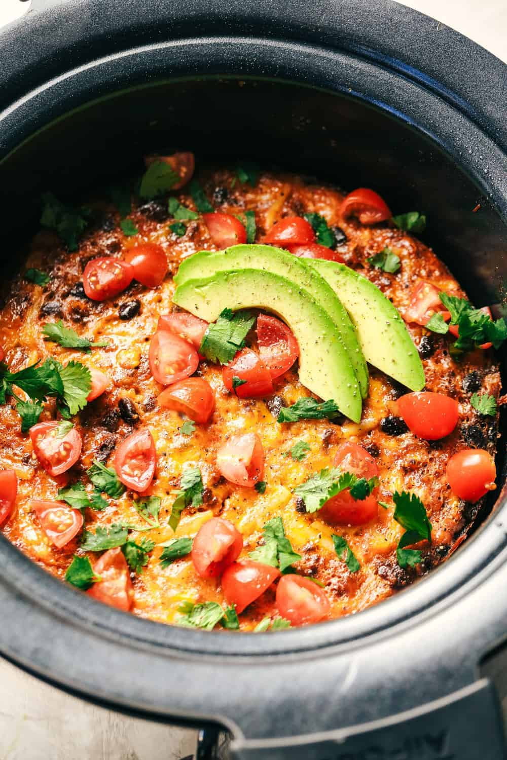 Slow Cooker Mexican Chorizo Egg Casserole in a slow cooker.