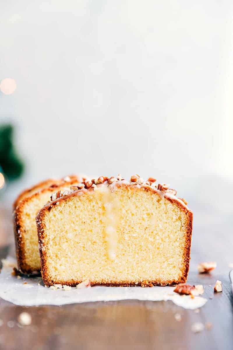Sliced Glazed Eggnog Pound Cake.