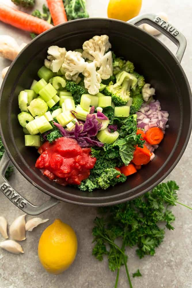 Vegetables cut and prepared in the pot