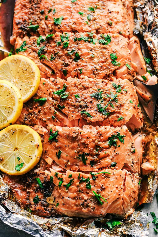 Garlic Brown Sugar Glazed Salmon cut into servings.