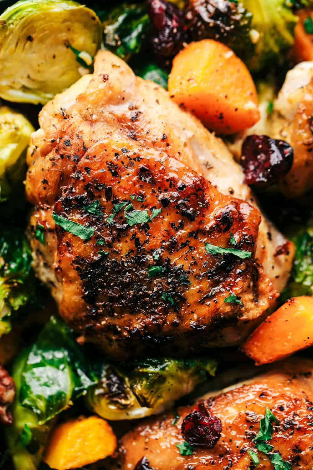roasted honey garlic butter chicken wit Brussels sprouts and butternut squash up close picture