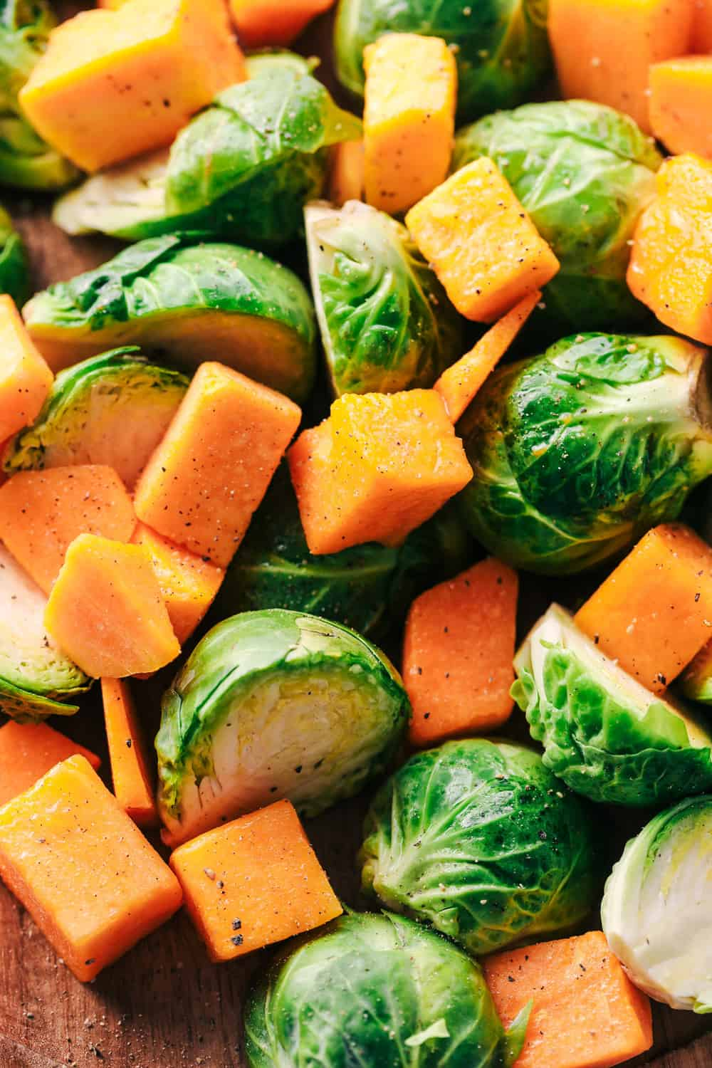 brussels sprouts and butternut squash cut up