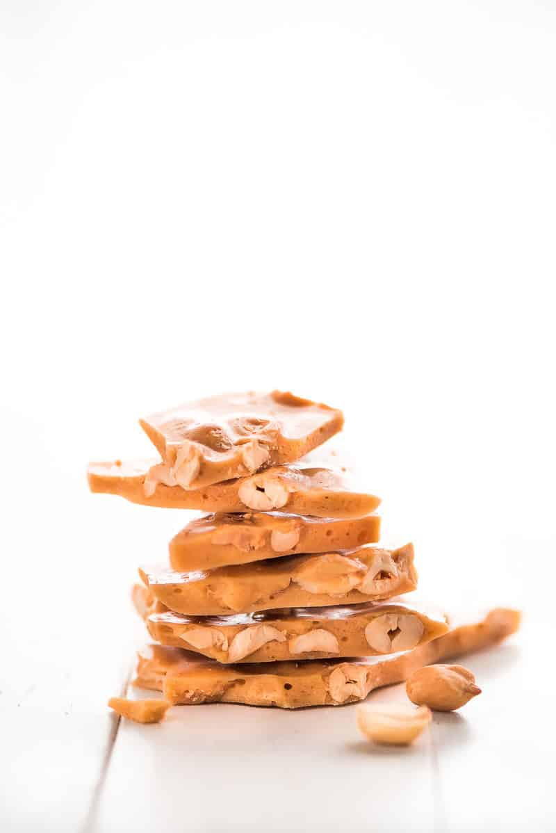peanut brittle stacked on top of each other