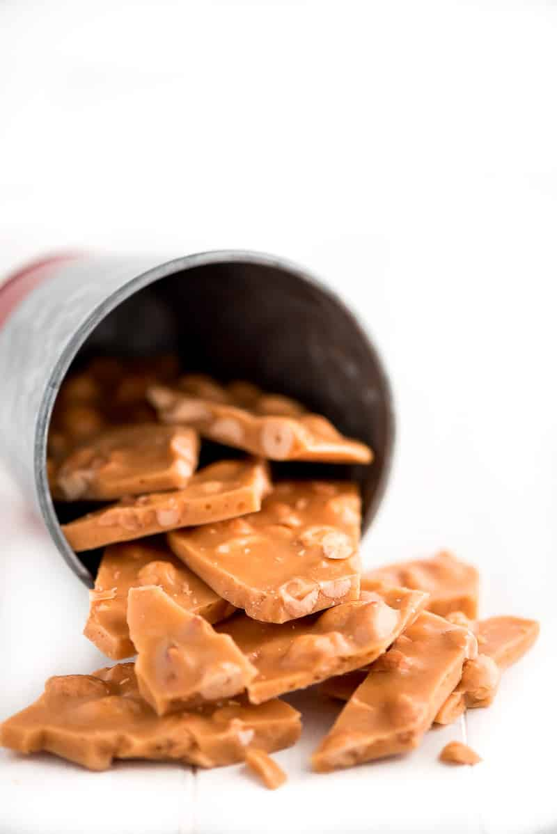 peanut brittle in a jar