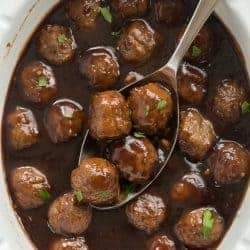 These Slow Cooker Cranberry Balsamic Meatballs are perfect for a holiday dinner or party! Sweet, tangy and so easy!