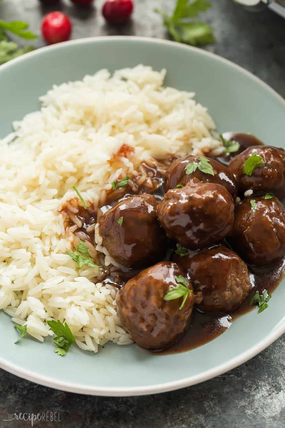 Slow Cooker Cranberry Balsamic Meatballs with white rice.