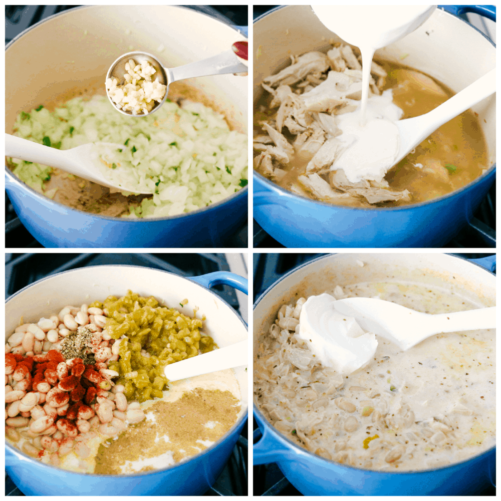 Making creamy, savory, hearty White Chicken Chili.