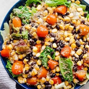 A big bowl of southwest quinoa bean salad