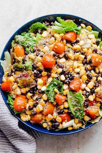 A big bowl of southwest quinoa bean salad