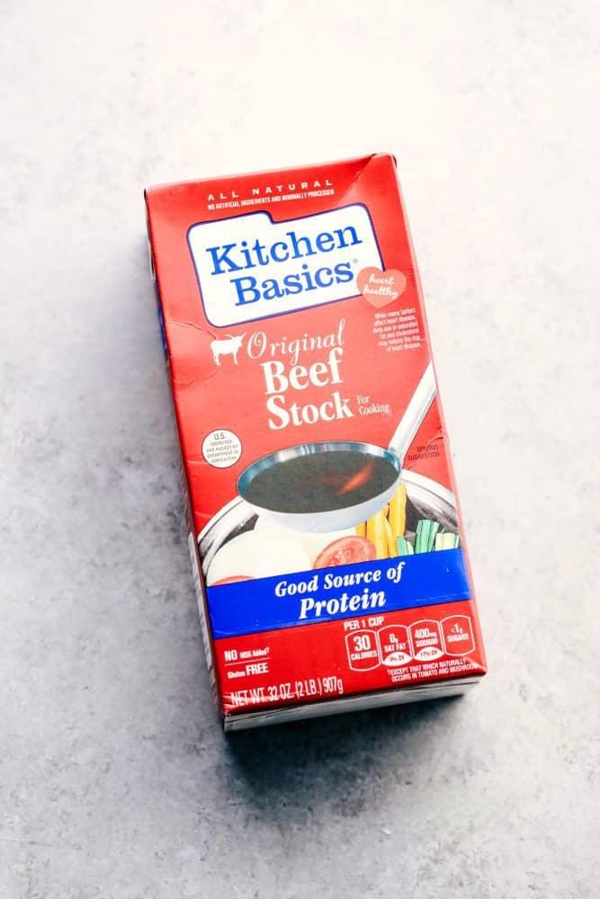 Kitchen Basics Brand beef stock box.