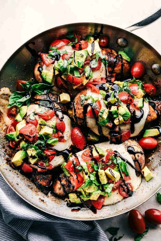 California Avocado Skillet Chicken in a skillet.