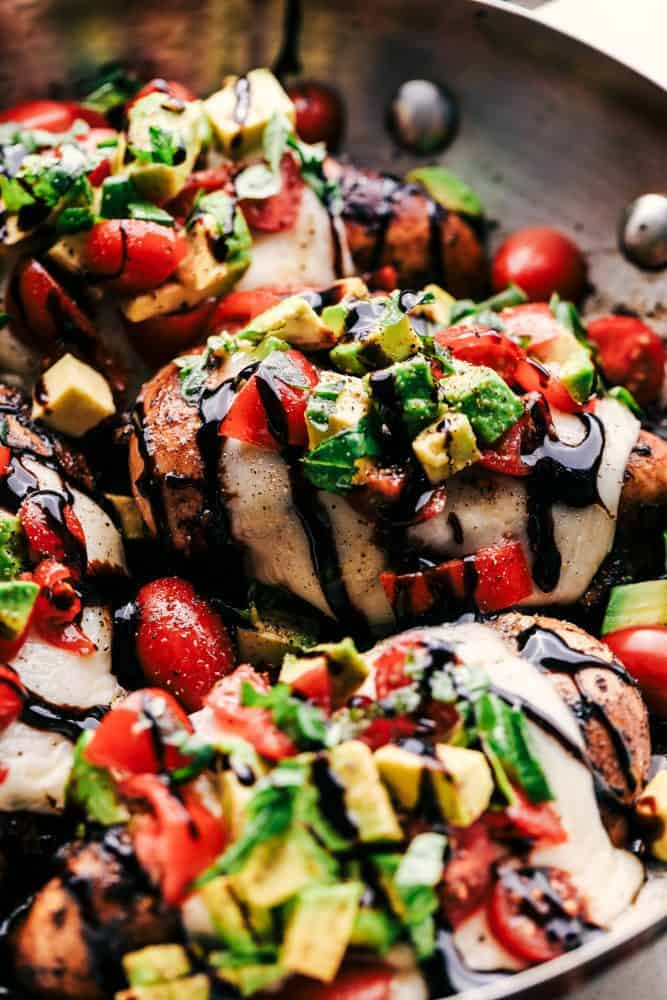 California Avocado Skillet Chicken with balsamic dressing and avocado on top.
