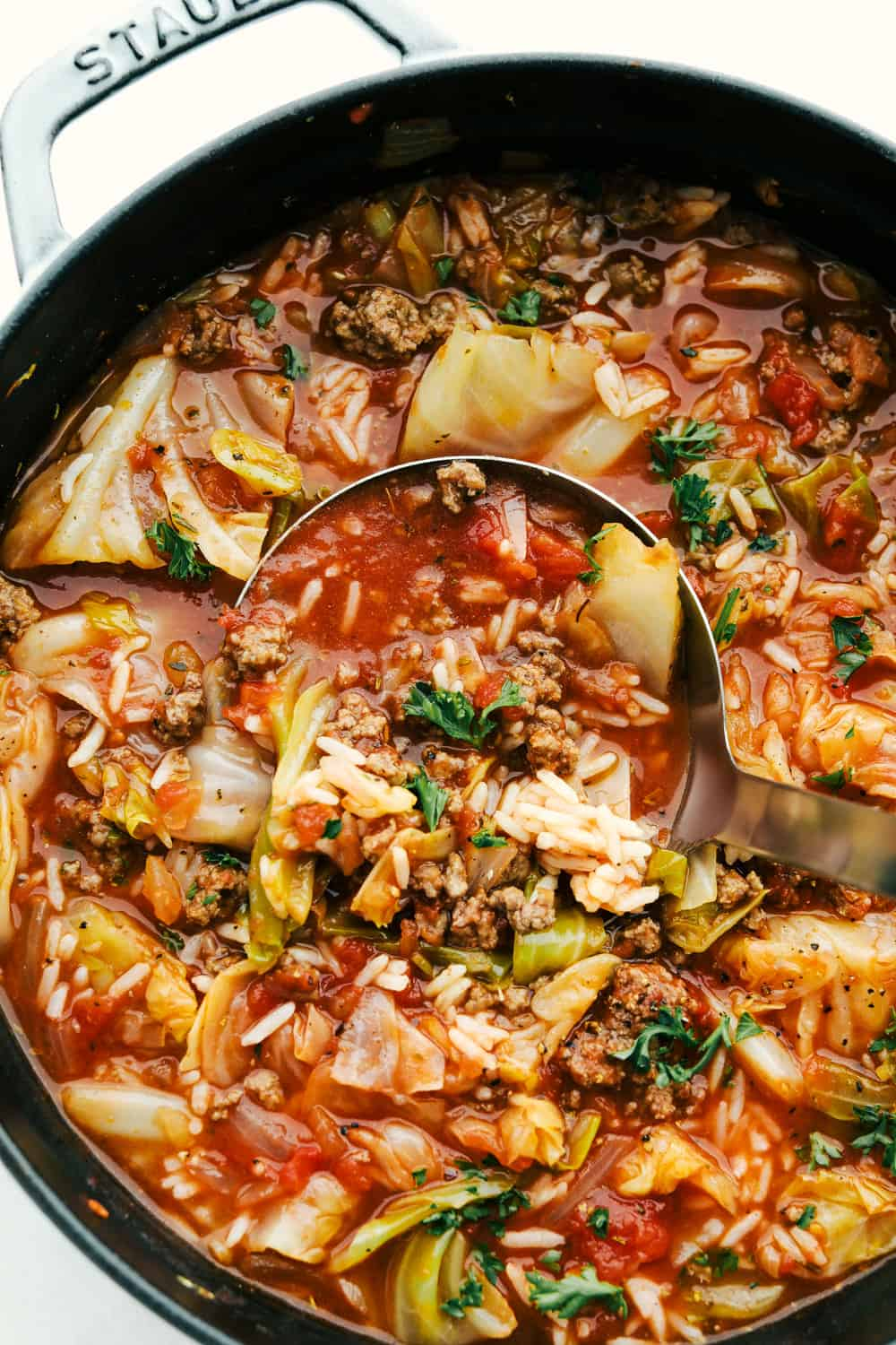 Hearty Stuffed Cabbage Soup full of veggies, hamburger and rice.