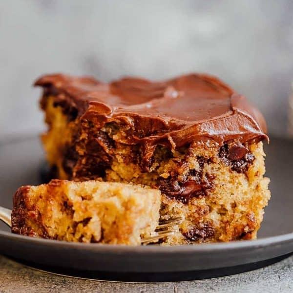Closeup of a bite of chocolate chip banana cake
