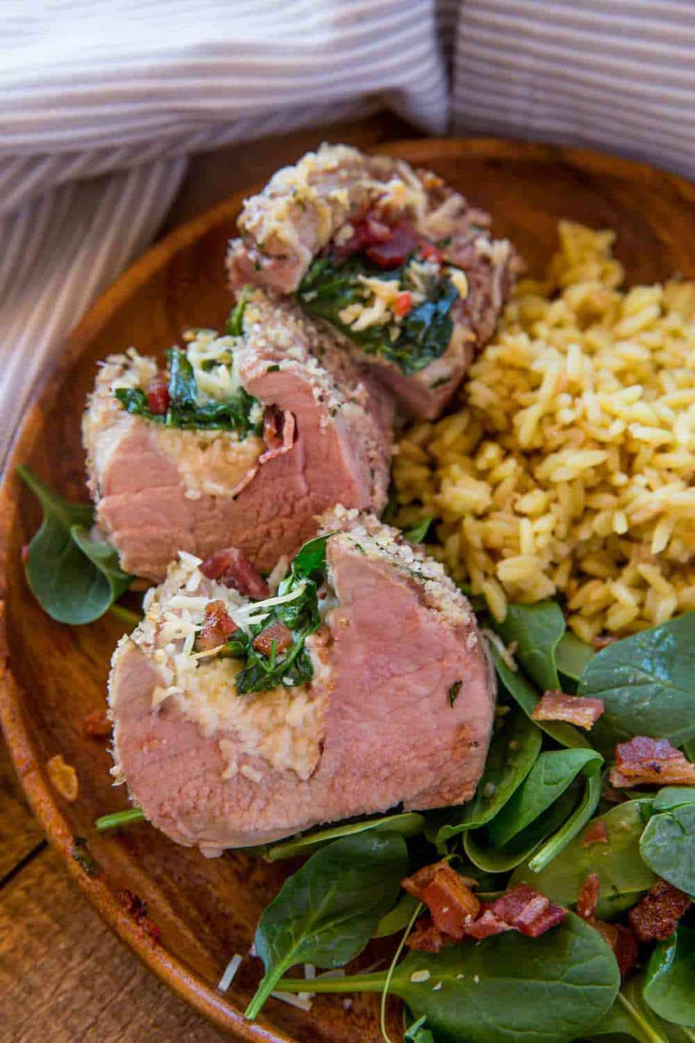 Spinach and Bacon Stuffed Tenderloin