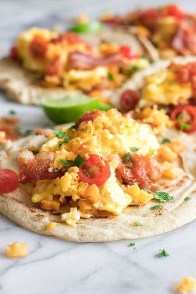 Close up of breakfast tacos.