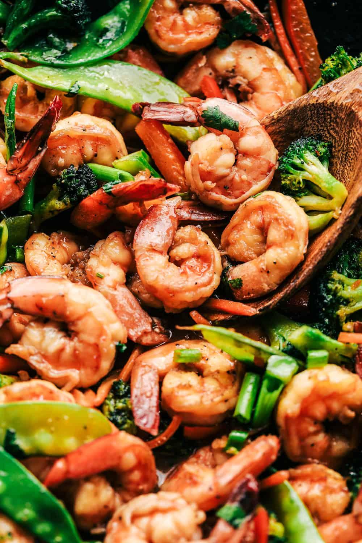 Seared Shrimp With Ginger Stir Fried Vegetables