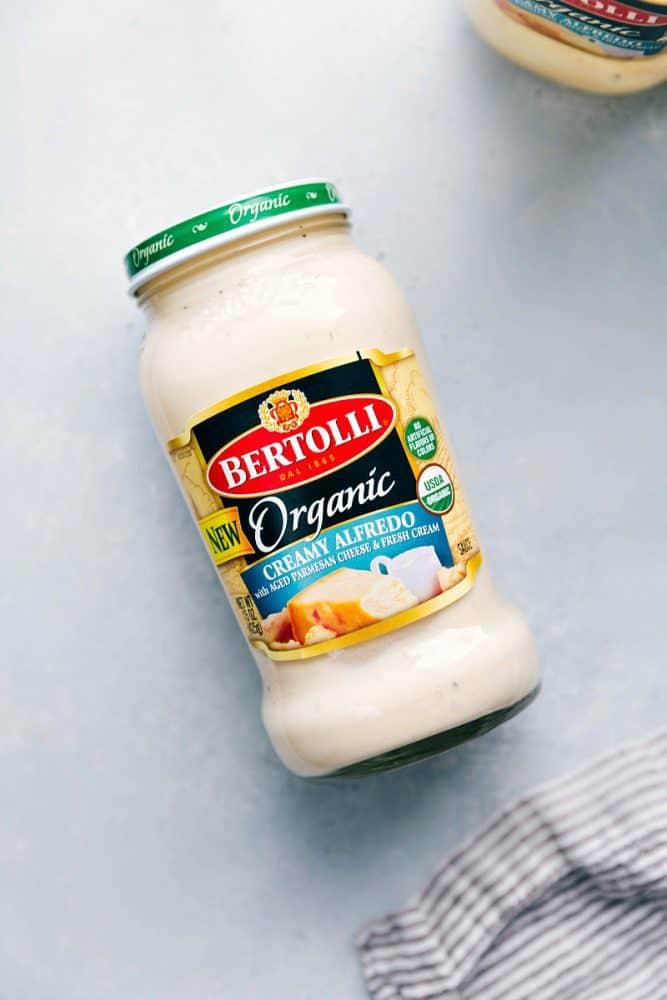 Bertolli Creamy Alfredo sauce in a jar.