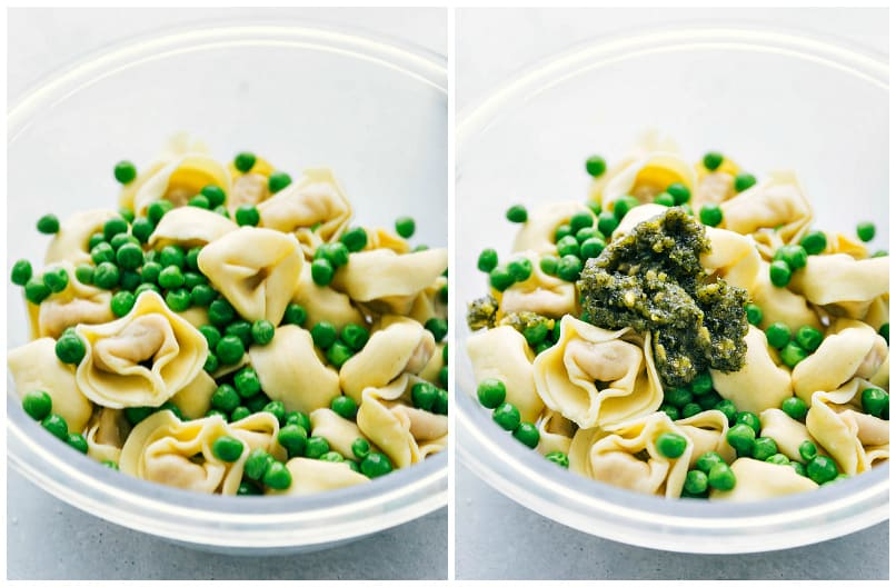 Tortellini and peas in a bowl.