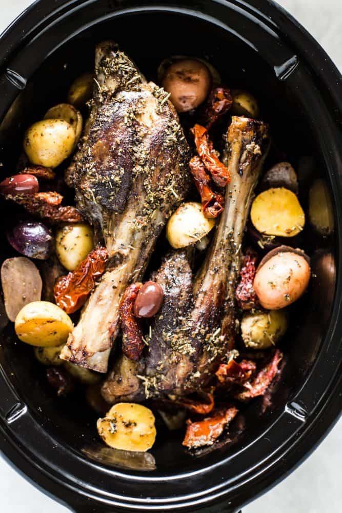 Slow Cooker Greek Lamb Shanks in a slow cooker.