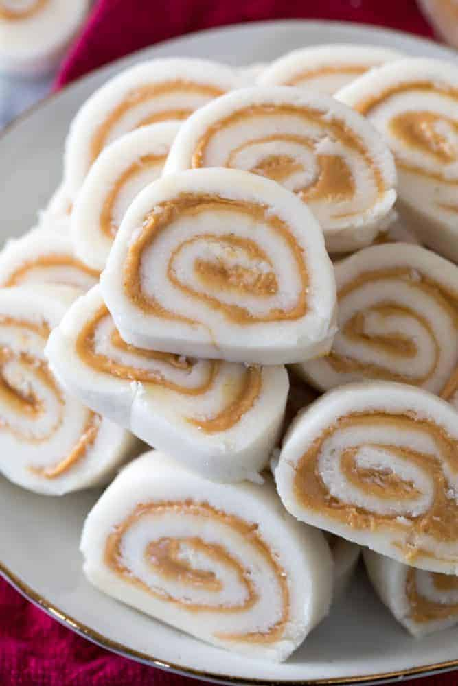 Peanut Butter Pinwheel Candy stacked on top of each other.