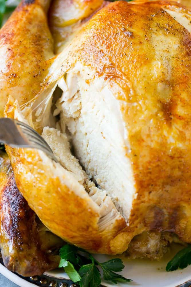Cooking a whole chicken has never been easier than this Instant Pot roasted chicken! The chicken cooks in just 30 minutes and produces a moist and juicy bird that's the perfect simple dinner option!