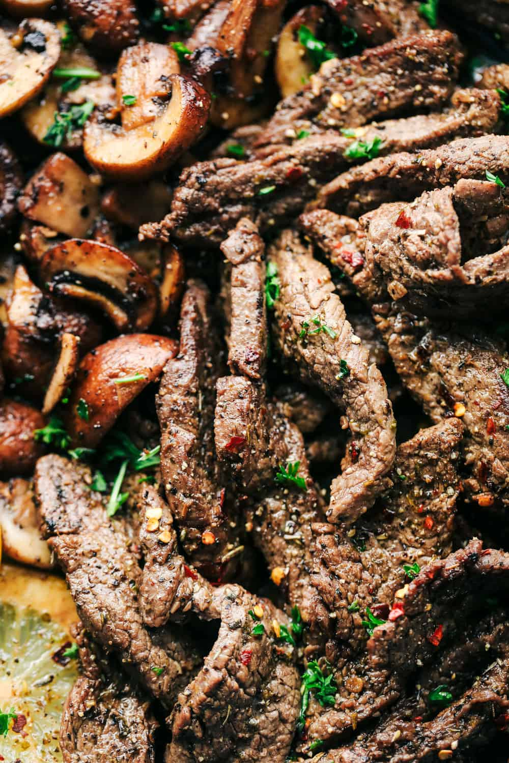 lemon garlic butter flank steak with mushrooms
