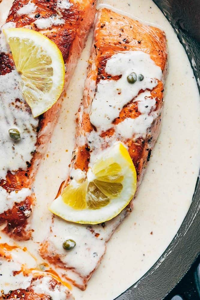 Closeup of the Lemon Salmon Piccata with capers and lemon slices.