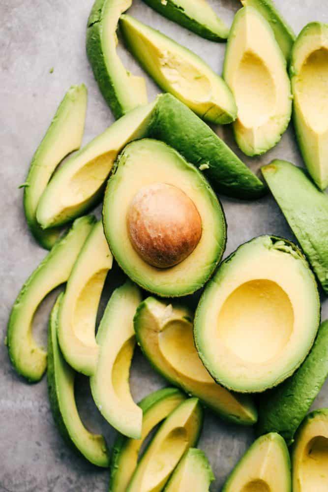 Sliced avocados.