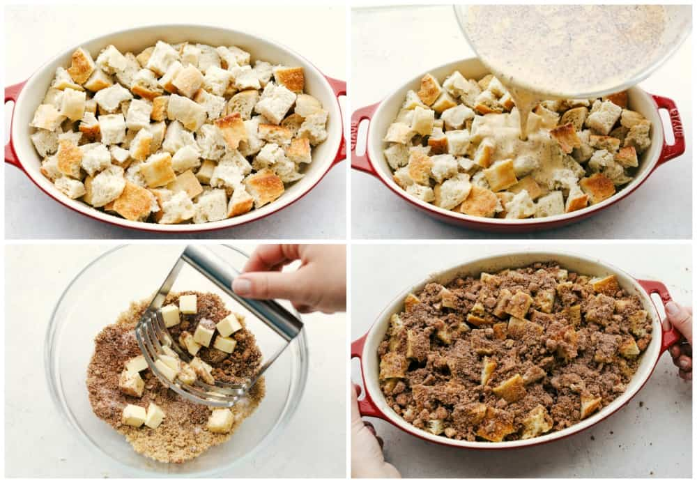 Cubes of toast in a pan then pour the syrup over top. Make the topping with a pastry blender and crumble overtop.