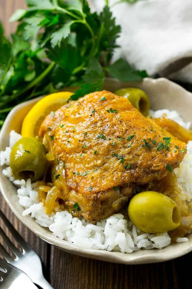 This Moroccan chicken is tender chicken thighs cooked in an aromatic sauce with olives and lemon. An easy dinner that's full of unique flavors!