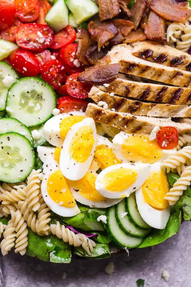 Closeup of Balsamic Chicken Cobb Salad.