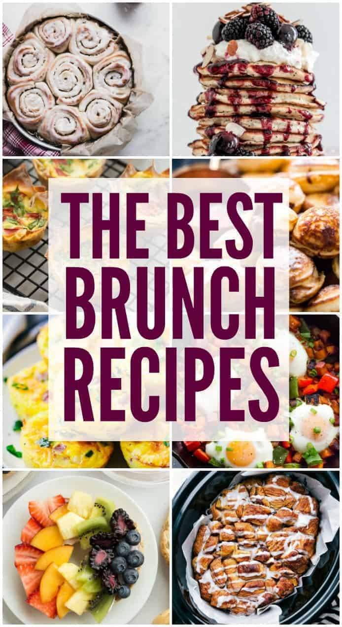 Collage of brunch pictures.