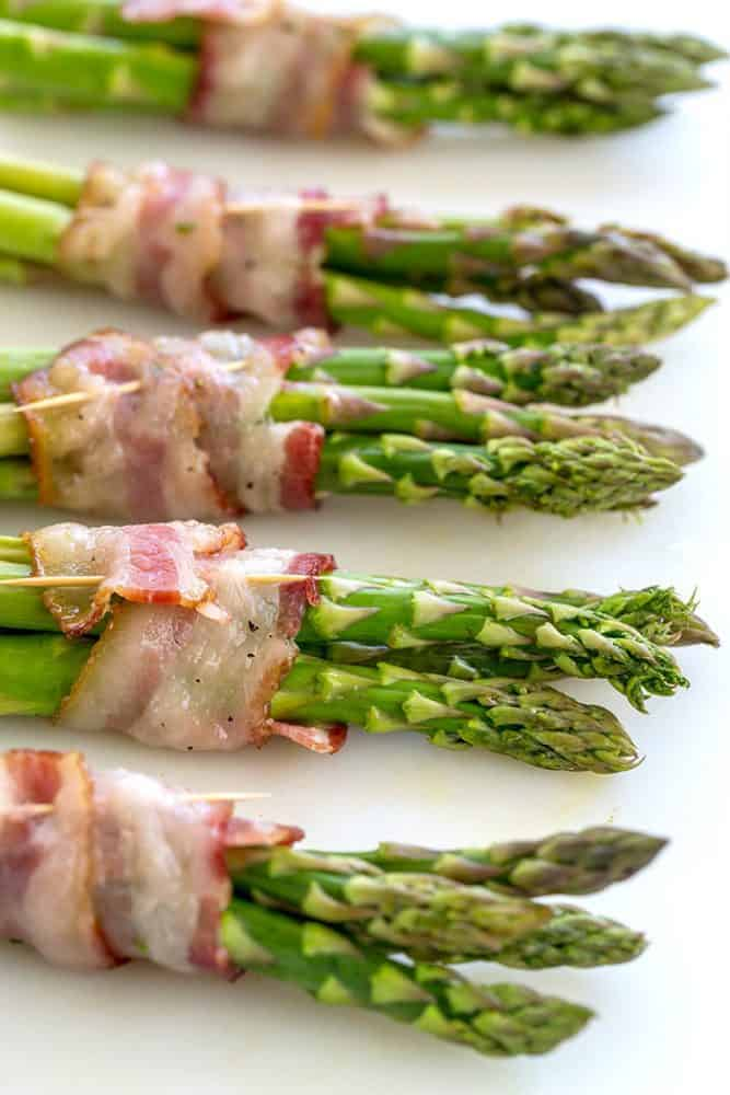 Bacon wrapped asparagus with tooth picks.