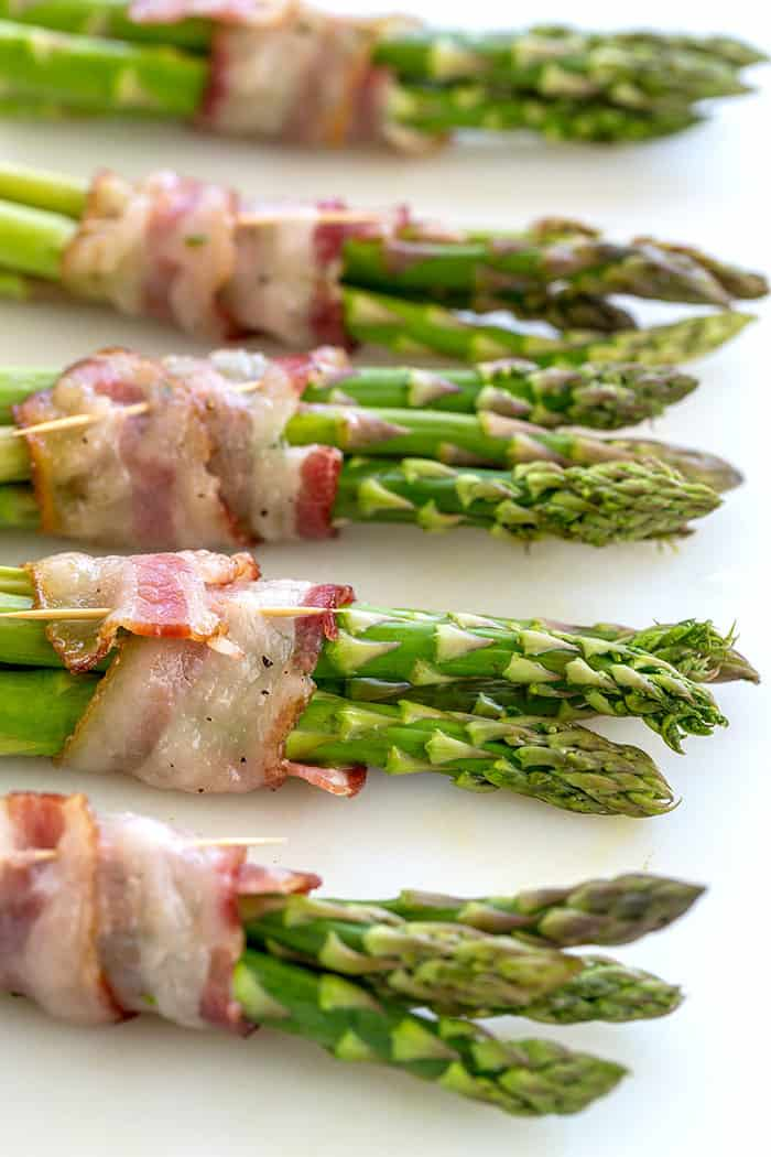 Bacon wrapped asparagus with tooth picks