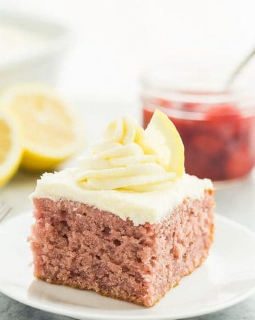 strawberry lemonade cake on white plate