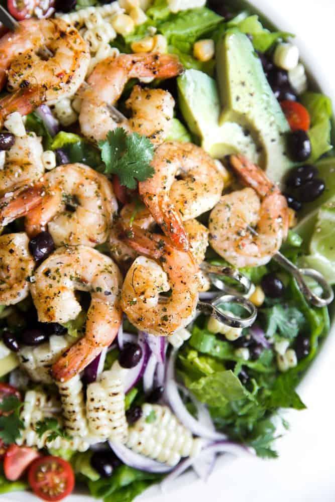 Close up of Grilled Shrimp Salad.