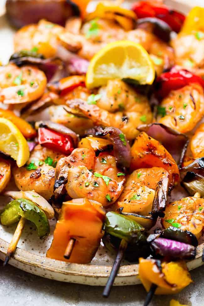 Close up of Grilled Lemon Garlic Butter Shrimp with Vegetables.