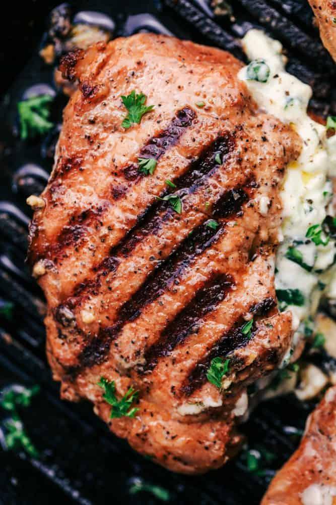 Close up of Herb Stuffed Pork Chop.
