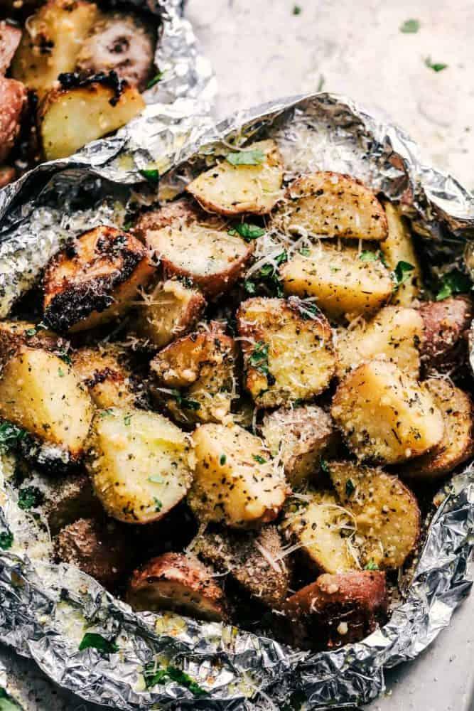 Parmesan Garlic Potato Foil Packets.