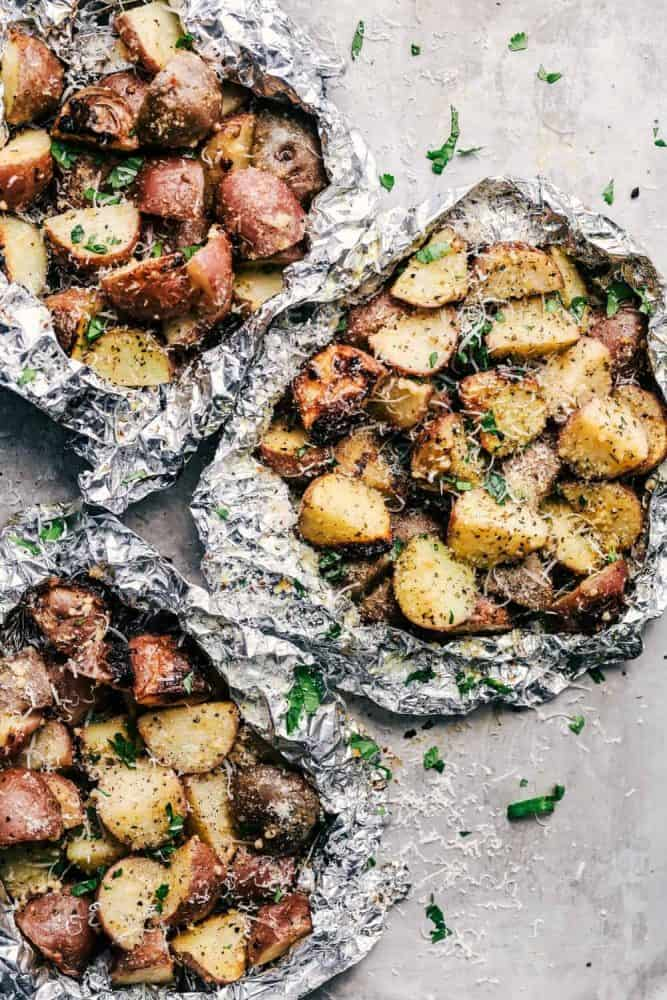 Three Parmesan Garlic Potato Foil Packets.