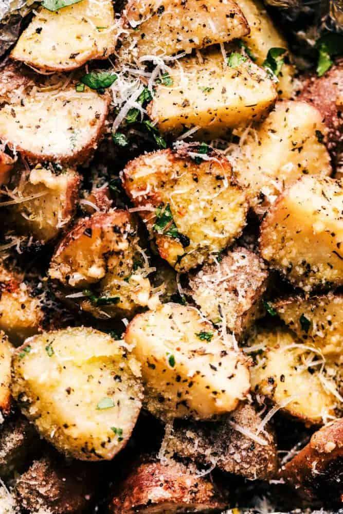 Close up of Parmesan Garlic Potatoes.