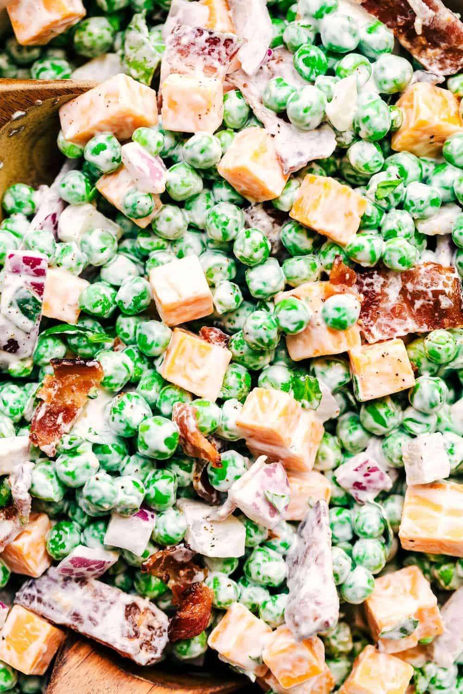 Close up on creamy pea salad.