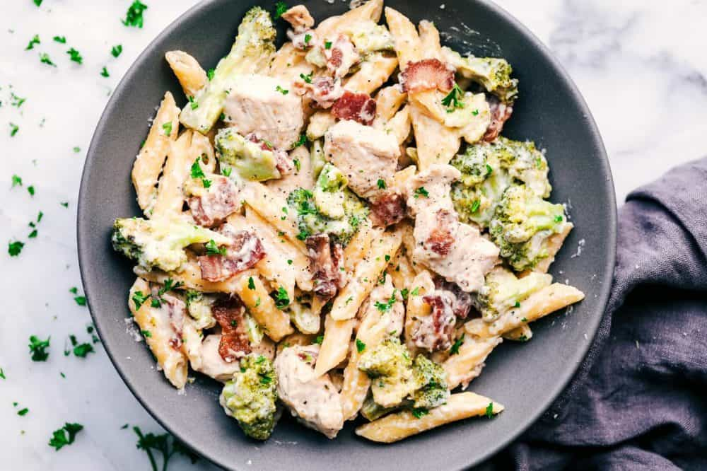Cheesy Chicken, Bacon and Broccoli Ranch Pasta in a grey bowl.