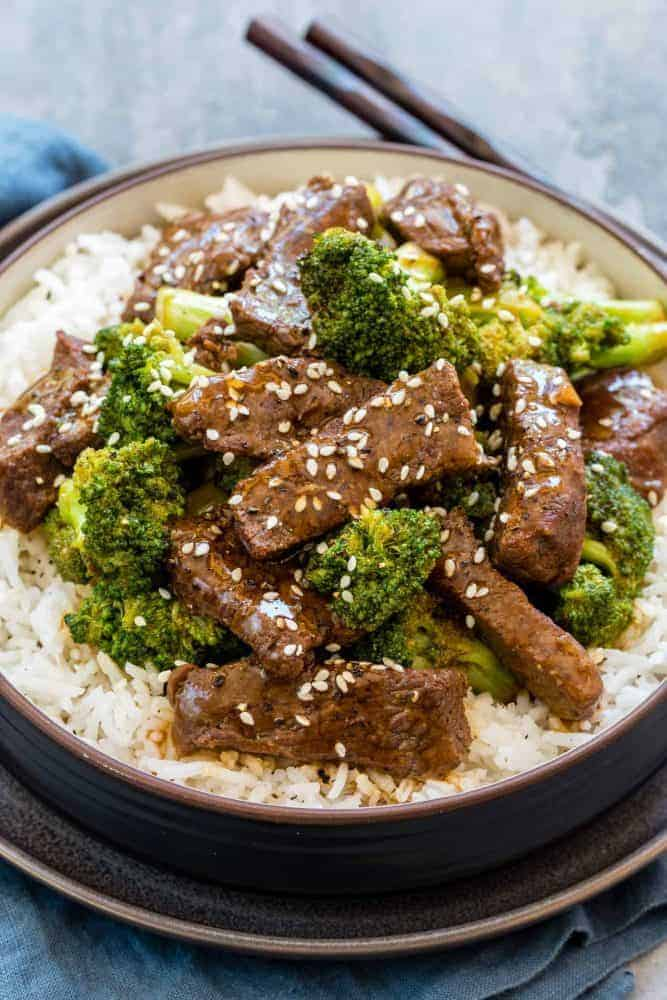 Instant Pot Beef and Broccoli over a bed of rice.