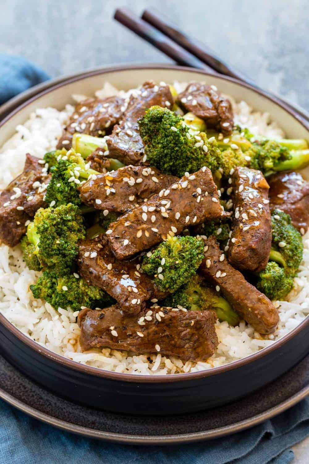 Instant Pot Beef and Broccoli over a bed of rice