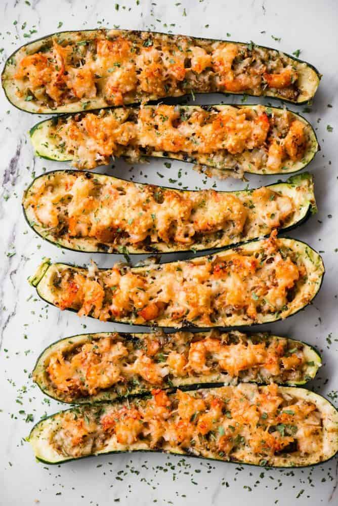 Shrimp Zucchini Boats on a table.