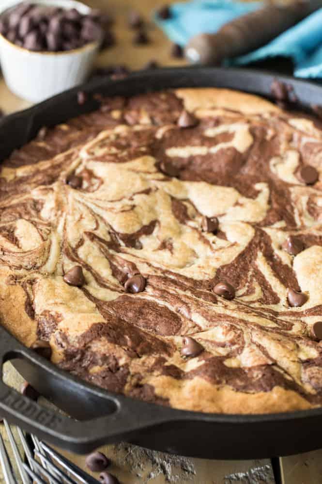 Freshly baked skillet brownie cookie in a skillet.